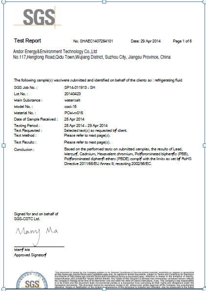 China Andores New Energy CO., Ltd Certificaten